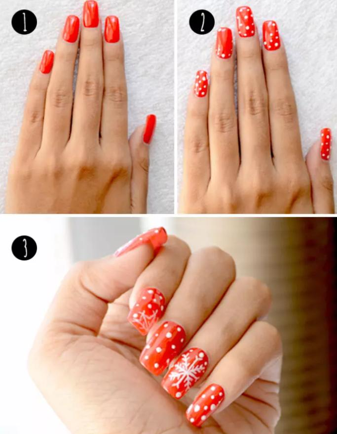 Red And White Xmas Nail Art