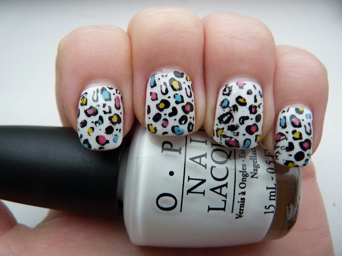 animal print nail design for short nails