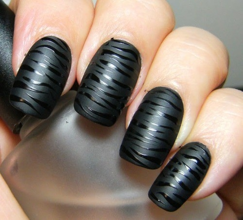 black zebra nail design