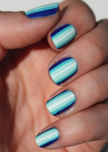 blue ombre stripes nail art 6 The most beautiful nails designs 2014