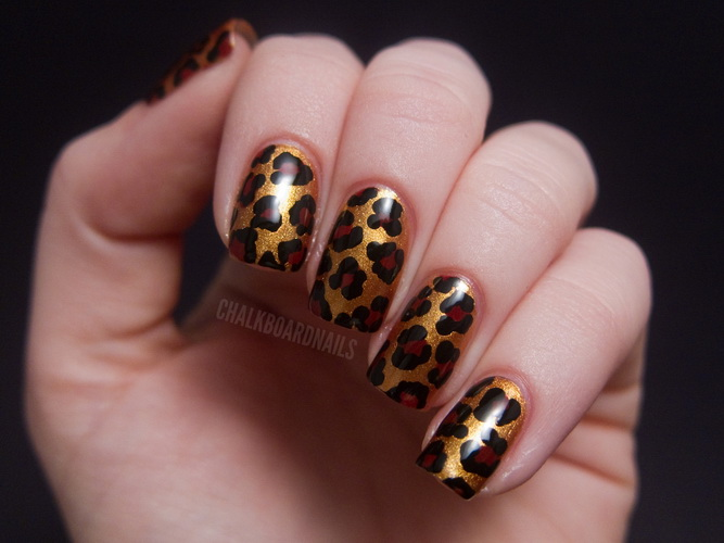 cheetah print nail design