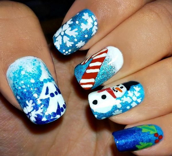 Nail designs for christmas yve style design christmas snowman nails prinsesfo Images