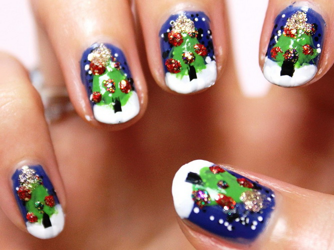 christmas tree nails design