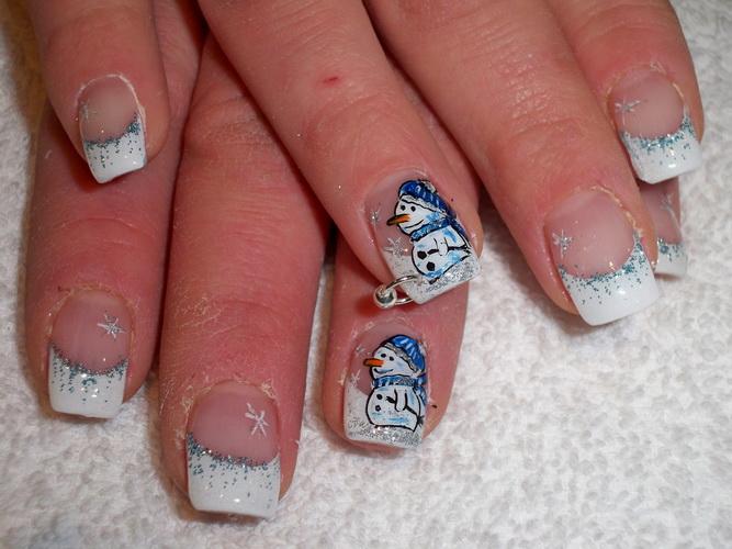 snowman nails art Nail designs for Christmas