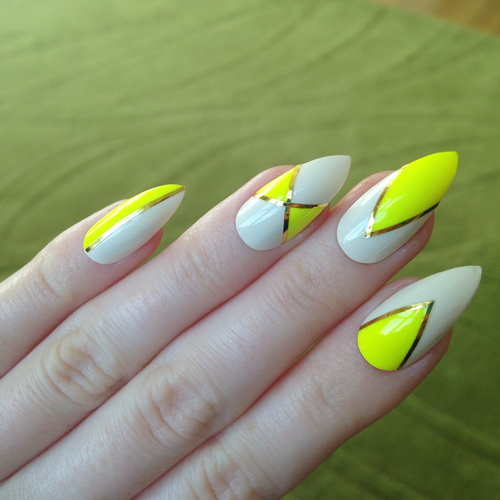 yellow acrylic nails neon