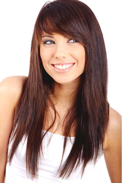Sweet bangs Hairstyles for round faces