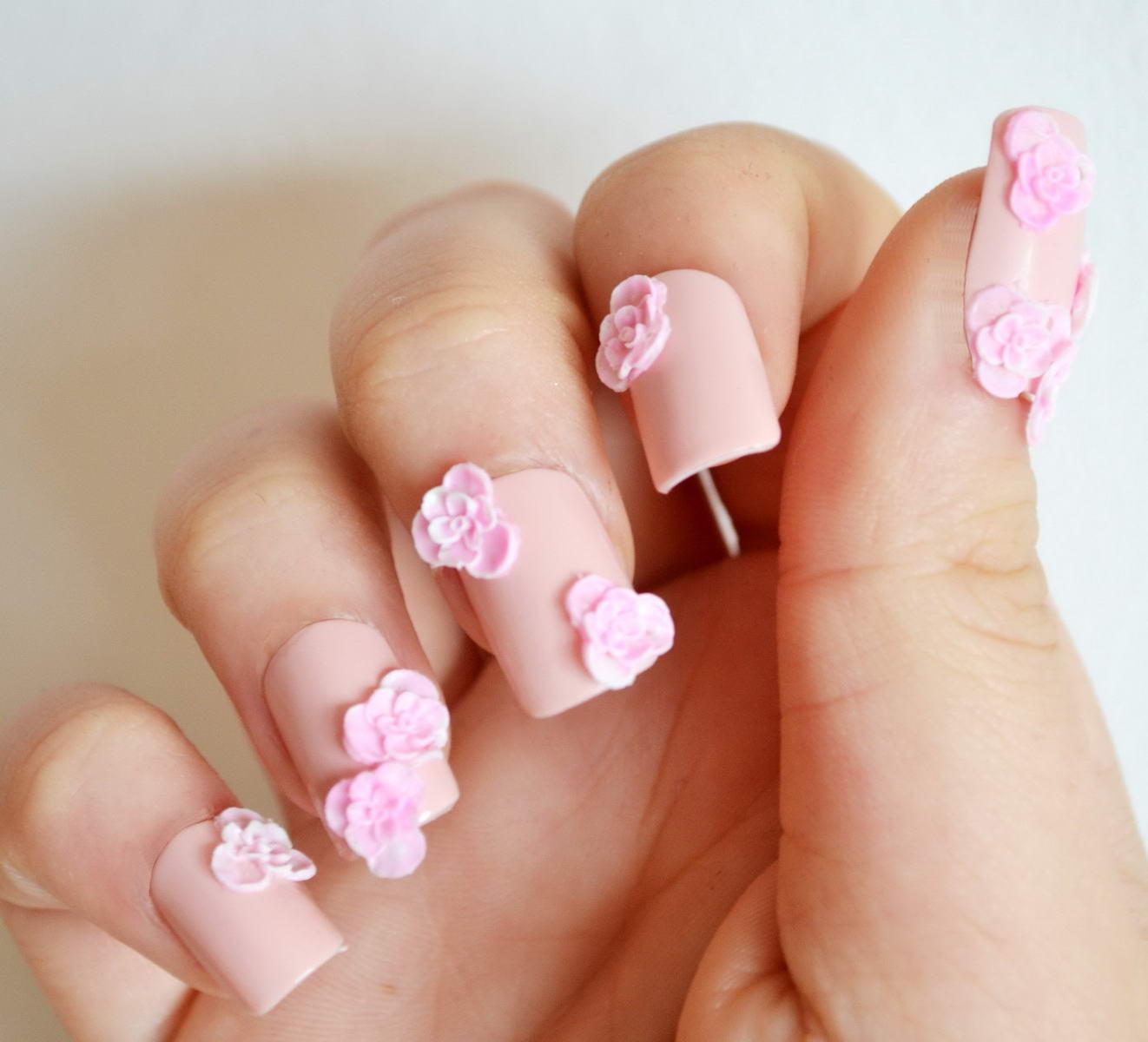 3d flower nail designs