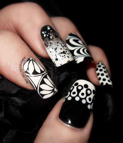 20 Amazing Black and white nail designs - Yve Style