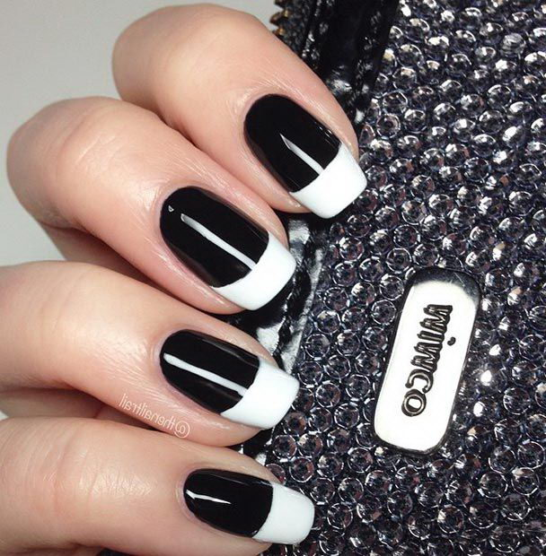 Black nails with a white tip