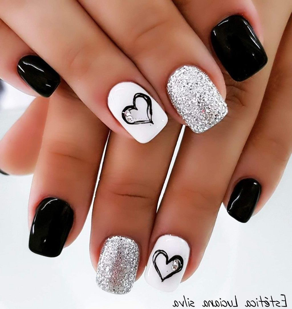 Easy black and white nails