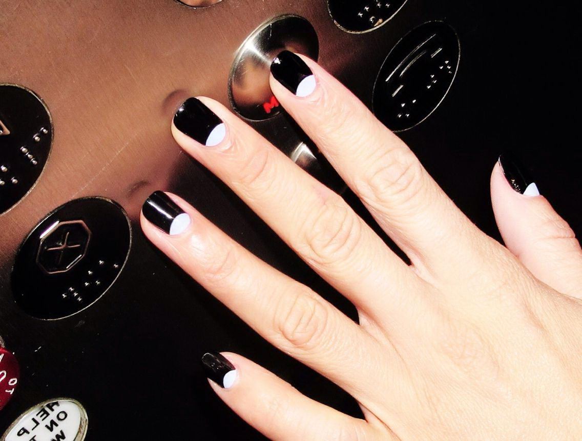 Half-moon nails black and white
