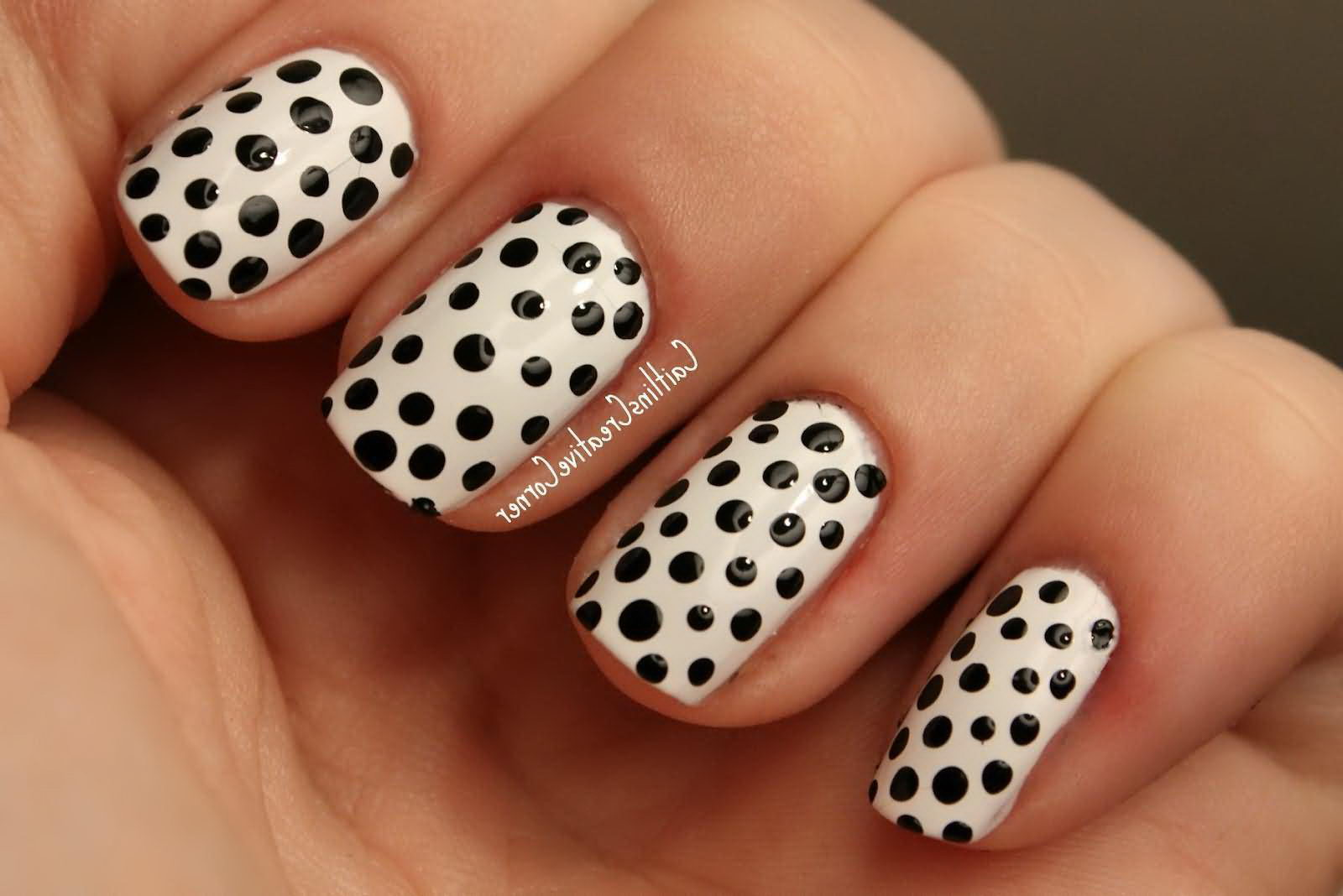 Polka Dots black and white nails