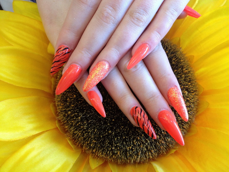 Orange Stiletto Nail Art