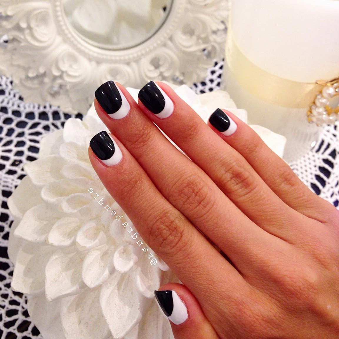 Two-Toned white and black nails