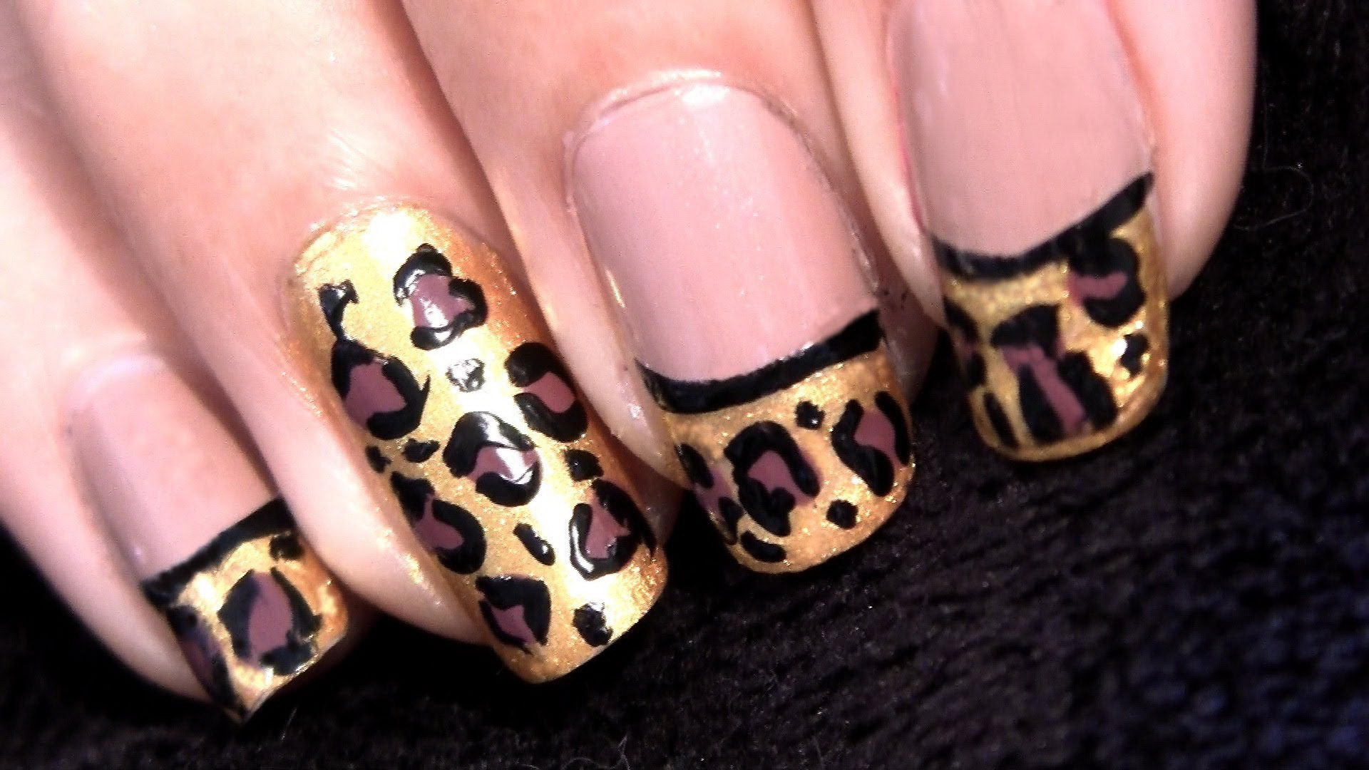 animal print french tip nail designs