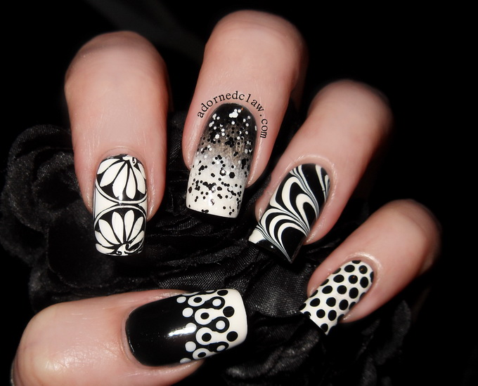 black and white nail designs pictures 20 Amazing Black and white nail designs