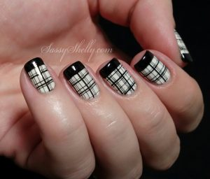 black cute french tips nail design