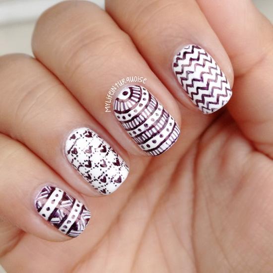 black white nail art 20 Amazing Black and white nail designs