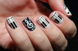black & white nail design