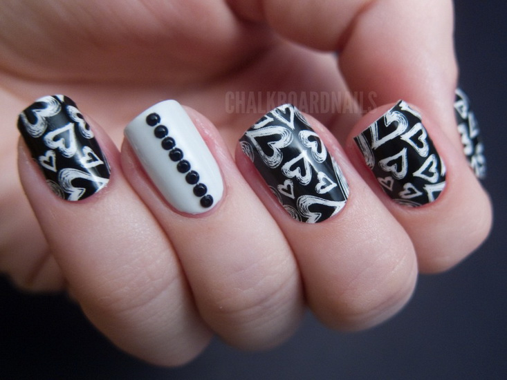 black white nails designs