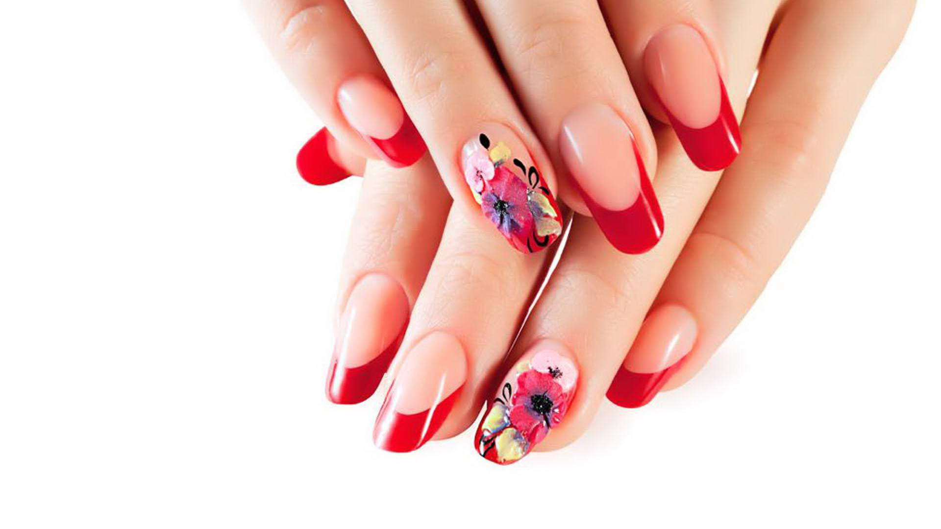 colorful flower nail designs