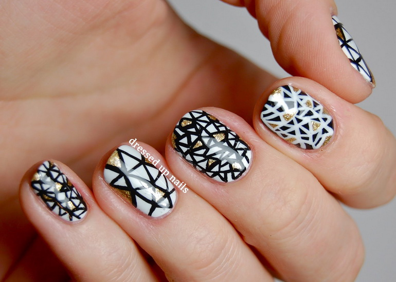 cute black and white nails