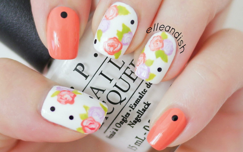 cute easy flower nail designs