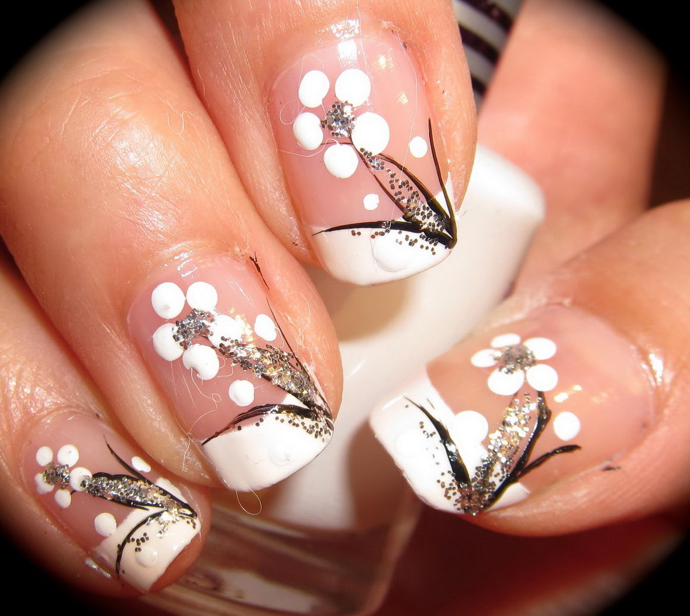 french tip flower nail designs