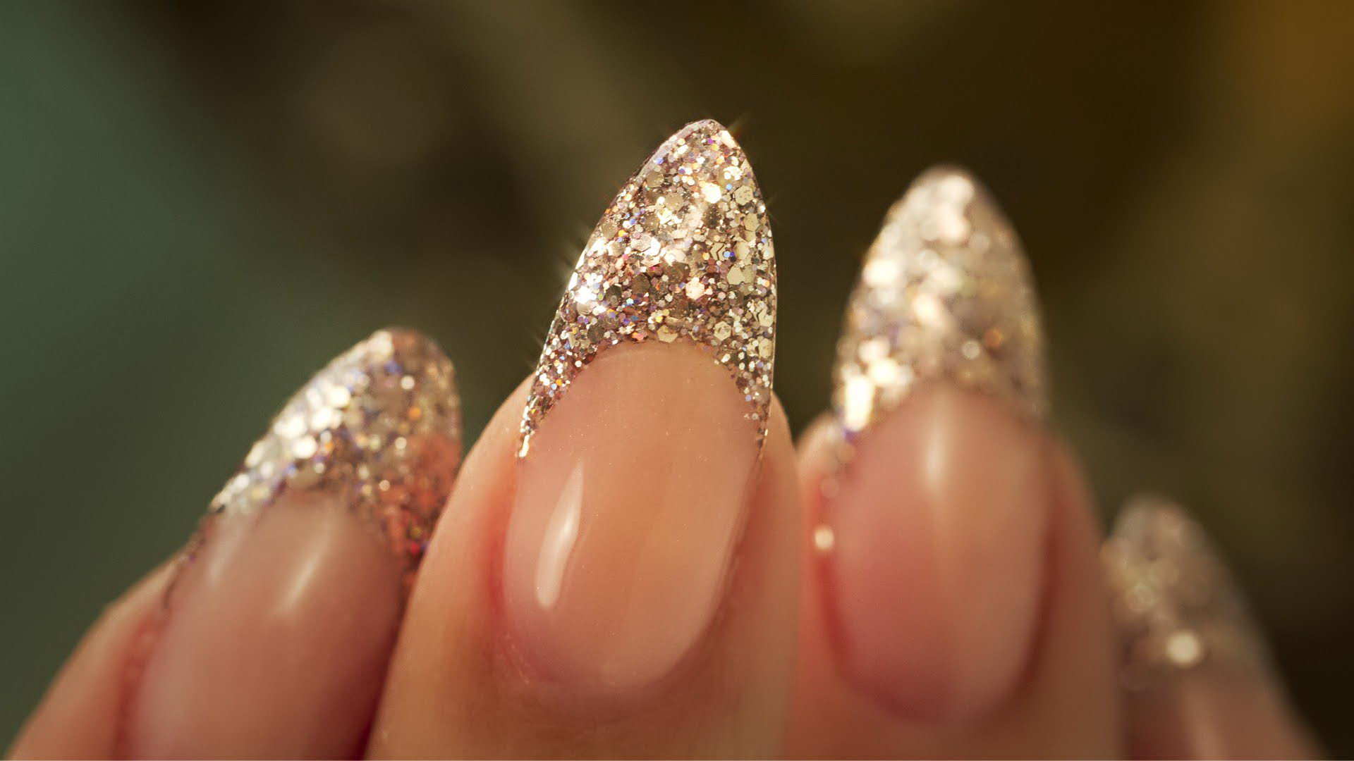 french tip nail designs with glitter