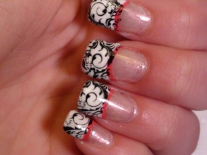 french tip nails with design