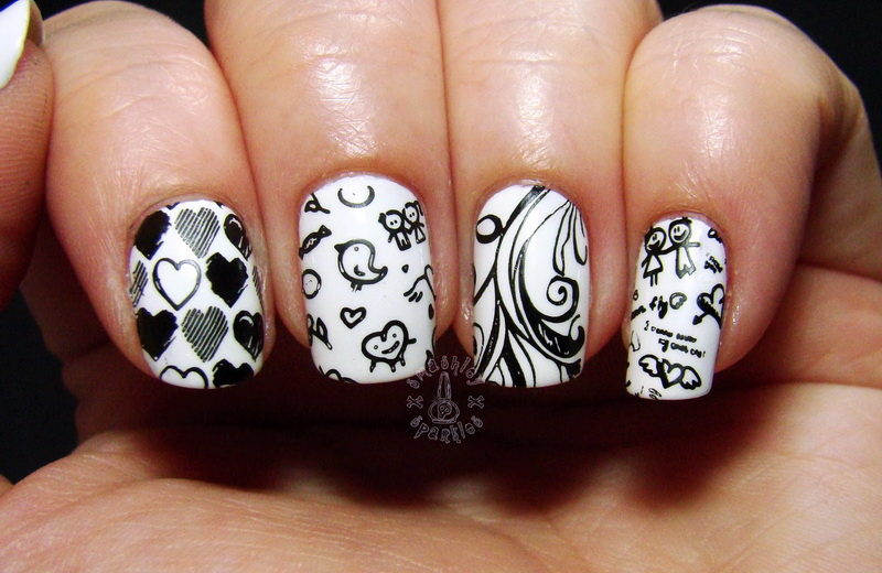 funny black white nail design