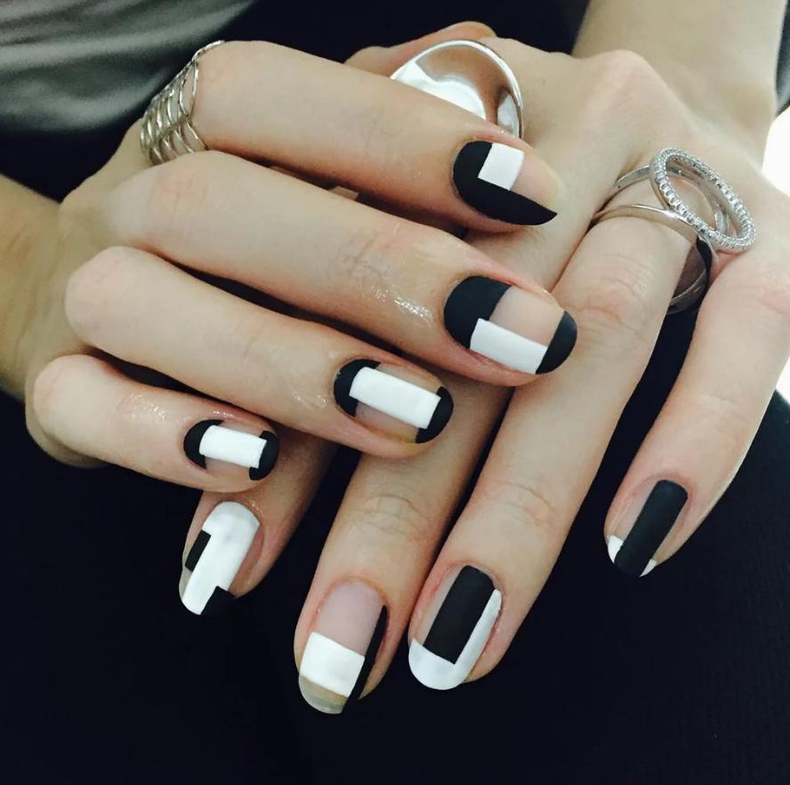 geometric black and white nails