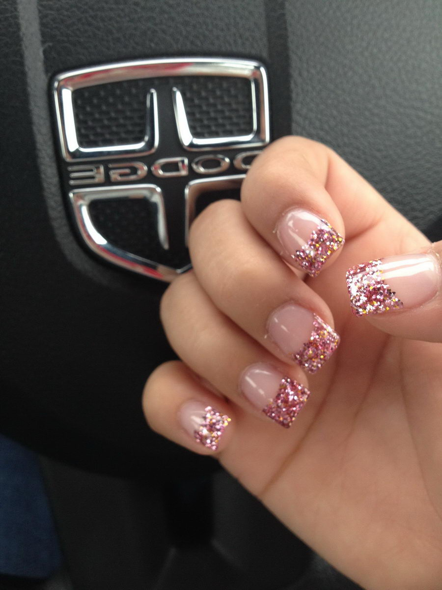 glitter french tip nail designs