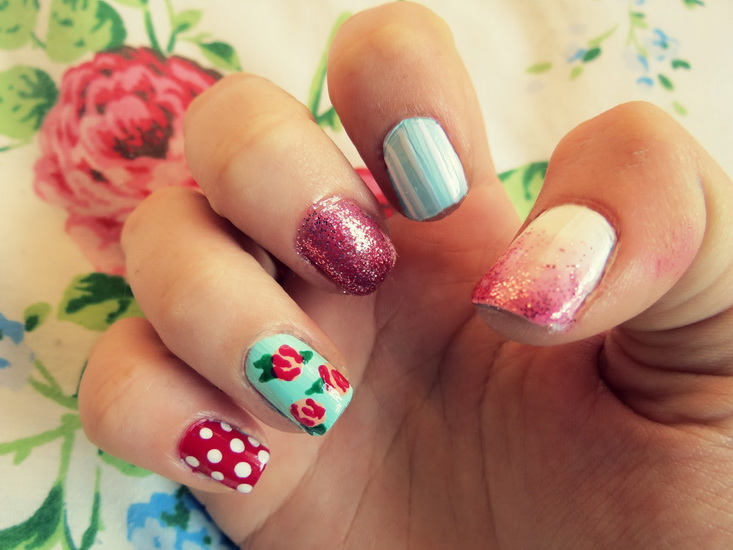 nail designs with flowers Beautiful pictures with Flower nail designs