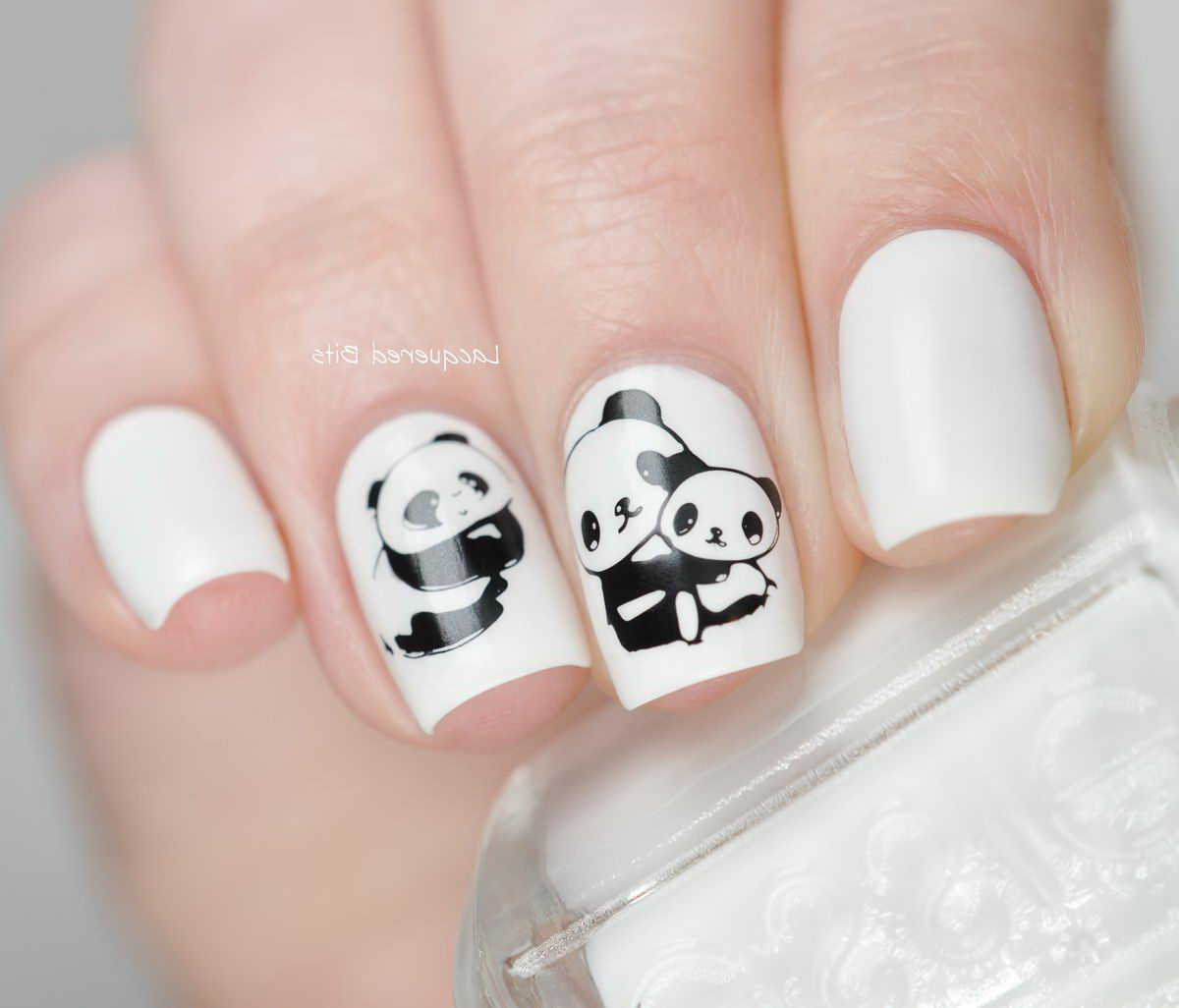panda nails black and white