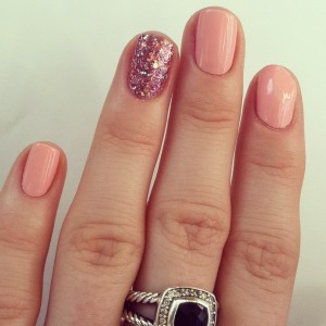 pink and glitter nail designs
