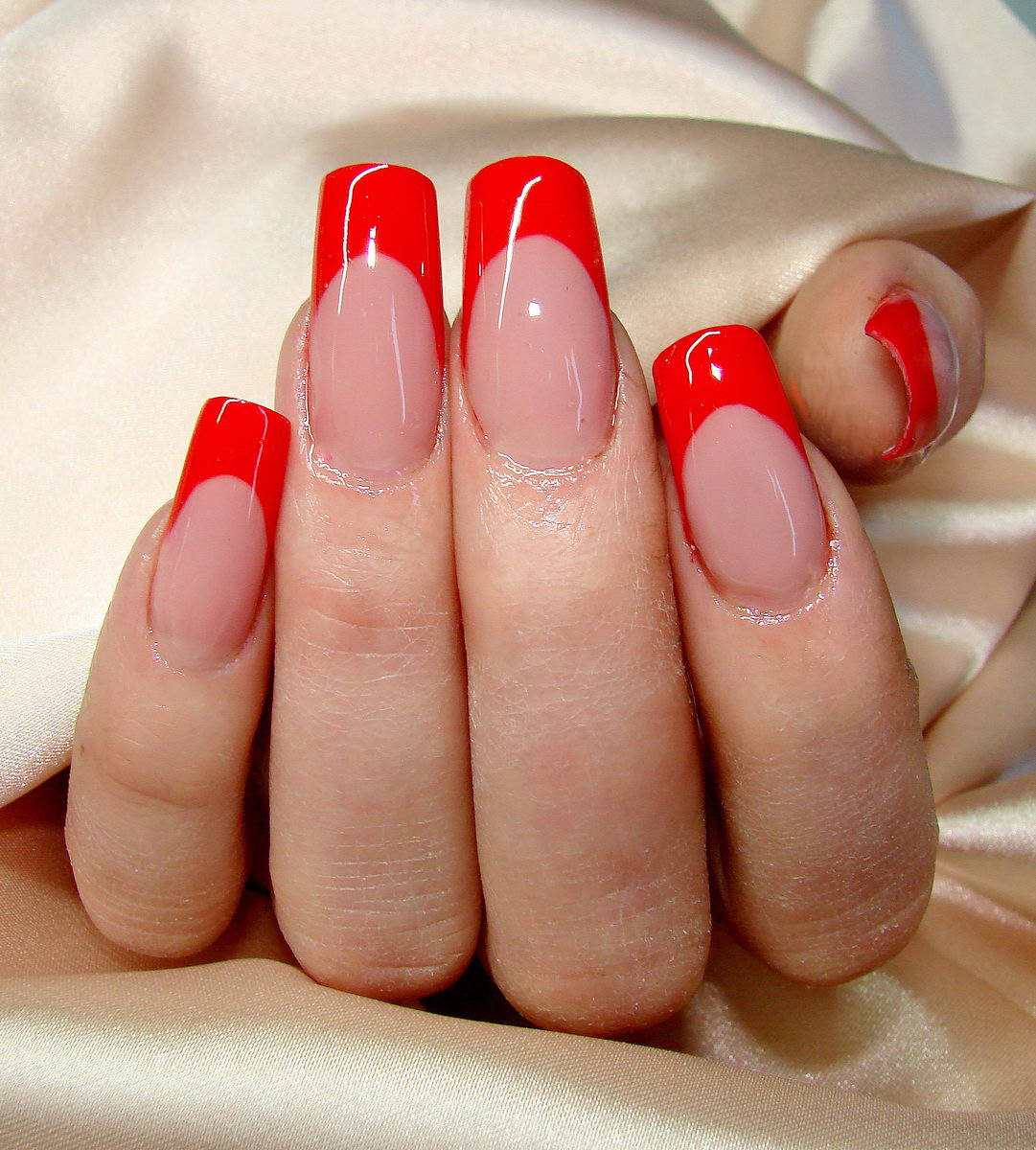 red french tip nail designs