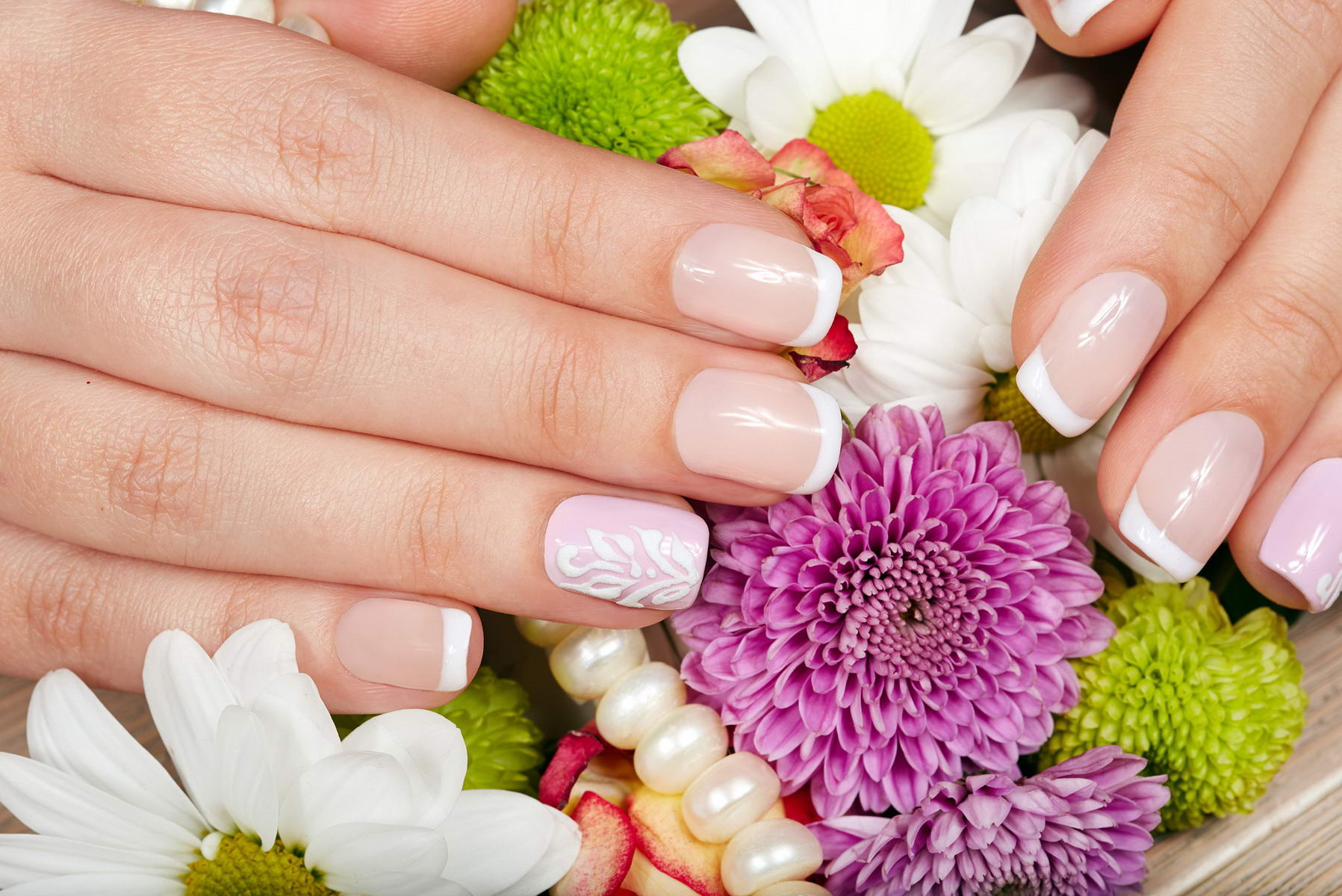 short nail flower designs