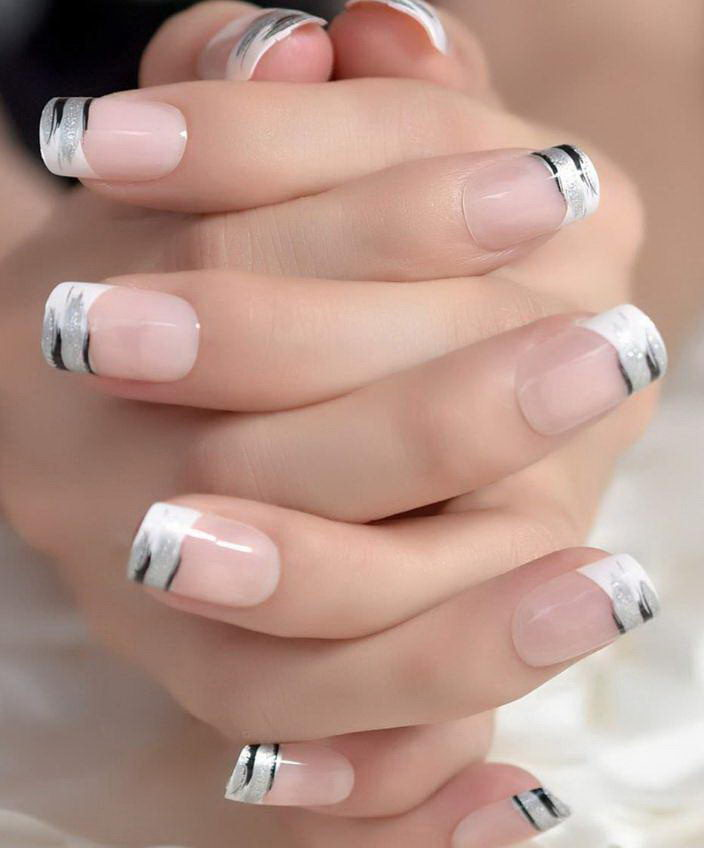 silver french tip nail designs