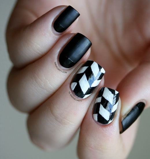 simple black and white nail designs