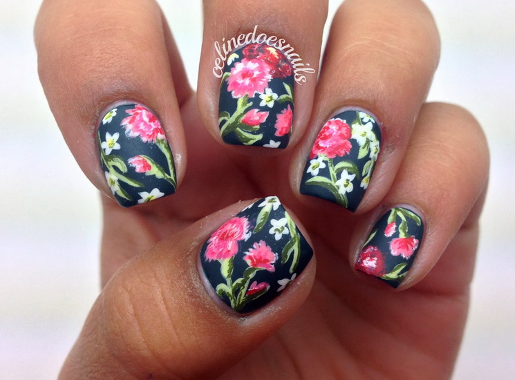 tropical flower nail designs Beautiful pictures with Flower nail designs