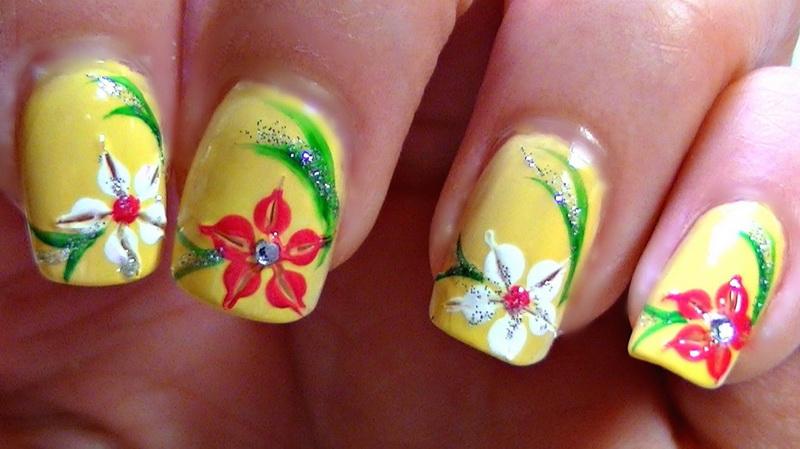 vintage flower nail designs