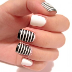 white nails with black designs