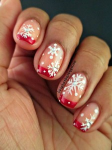 winter french tips nails designs