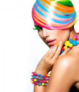 multicolor crazy hairstyle