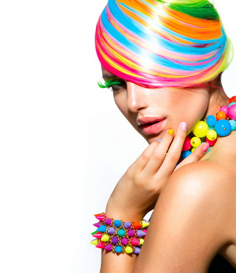 multicolor crazy hairstyle