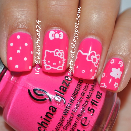 hello kitty acrylic nails