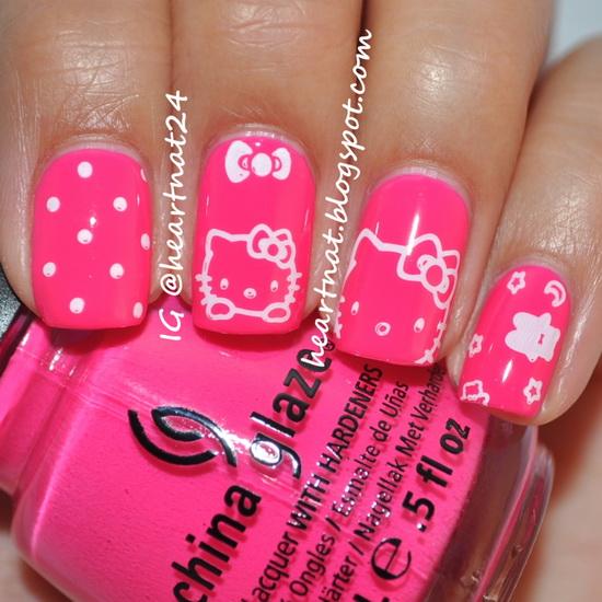 hello kitty acrylic nails