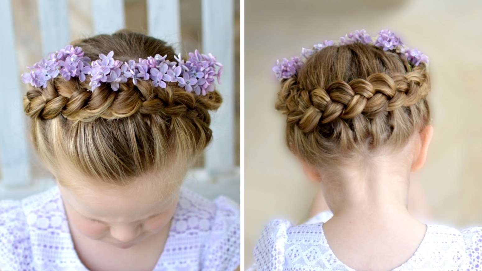 little girl Double Braid with flower