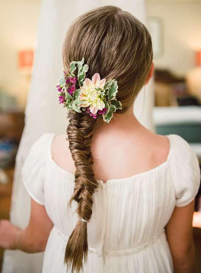 little girl Fishtail Braids flowers